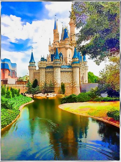 Dreams do Come True Architecture Castle Cinderilla's Castle Digital Painting DisneyWorld Famous Place Outdoors Travel Water