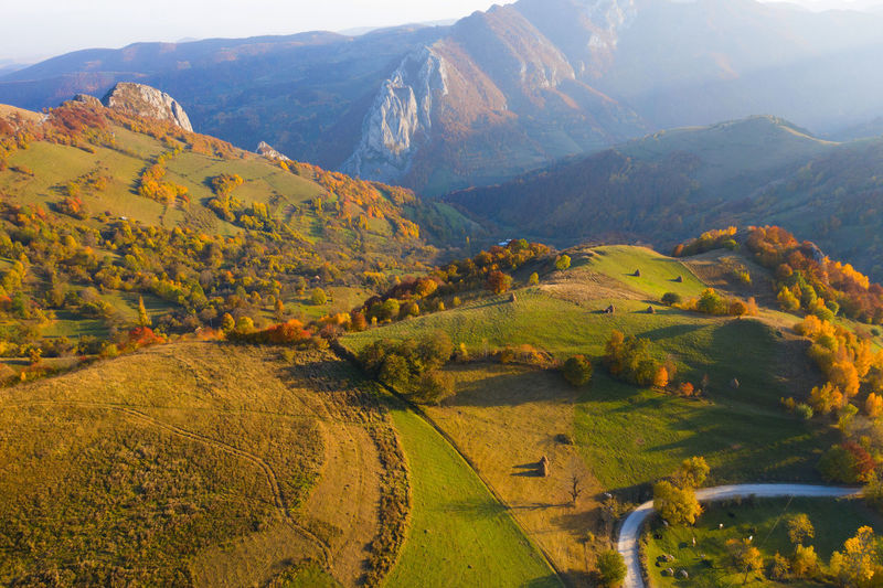 Aerial view of mountains during autumn