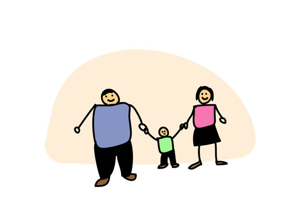 Father, Mother and son holding hand in hand. Happy family day concept. illustration hand-drawn style doodle Dad Family Happy Kids Love Man Mother Woman Young Boy Cartoon Child Childhood Concept Daddy Father Hand Holding Men Mom Parent People Son Together Togetherness