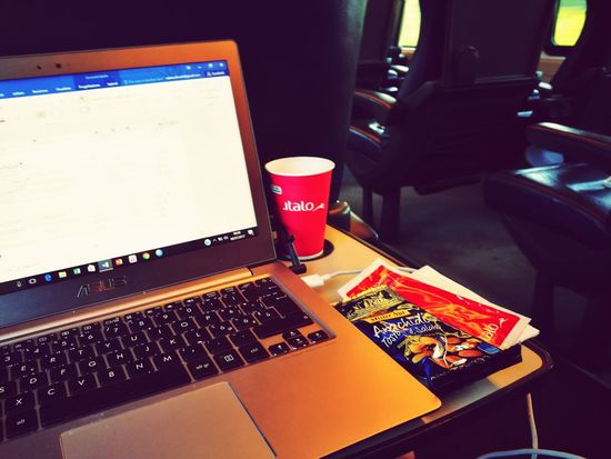EyeEm Selects Indoors  Business Finance And Industry Arts Culture And Entertainment Laptop Technology Desk No People Close-up Day Italo Italo Treno Travel Train Work Working Working Hard