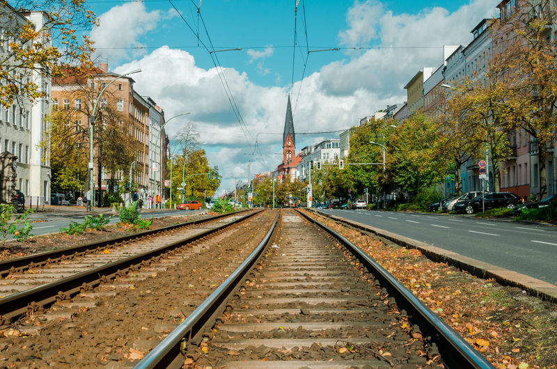 Berlin Train Track and Church Panorama. Autumn city series Autumn Berlin Church Immanuel Church Traffic Train Tracks Atumn Building Built Structure Cloud - Sky Diminishing Perspective Direction Evangelism Germany Mode Of Transportation Plant Rail Transportation Railroad Track Sky The Way Forward Tourism Track Transportation Urban Skyline vanishing point