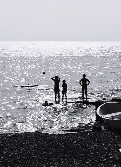 Sea Sunset Reflections Reflections In The Water People Shadow Blackandwhite Sun bright Bright EyeEm Ready