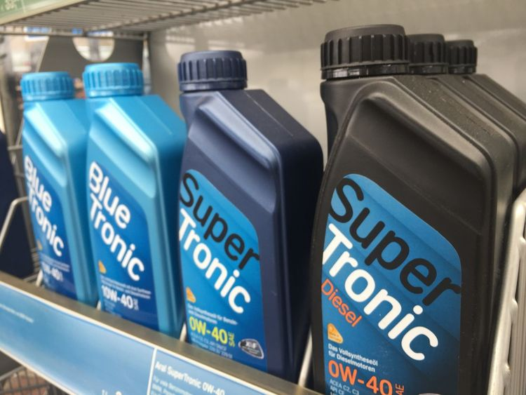Berlin, Germany - March 26, 2018: Aral SuperTronic antifreeze coolant. Aral is a brand of automobile fuels and petrol stations, present in Germany and Luxembourg Cars Lubricants Antifreeze Bottle Car Close-up Coolant Engine Lubricant Lubrication Maintenance No People Performance Row Vehicle