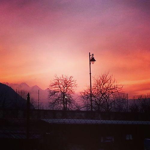 E quando ne esci semidistrutta e quasi senza fiato, ti si parano davanti le montagne inondate dal tramonto ed è uno spettacolo della natura Mountains Orange Violet Sunset Nature Landscape Valsangone