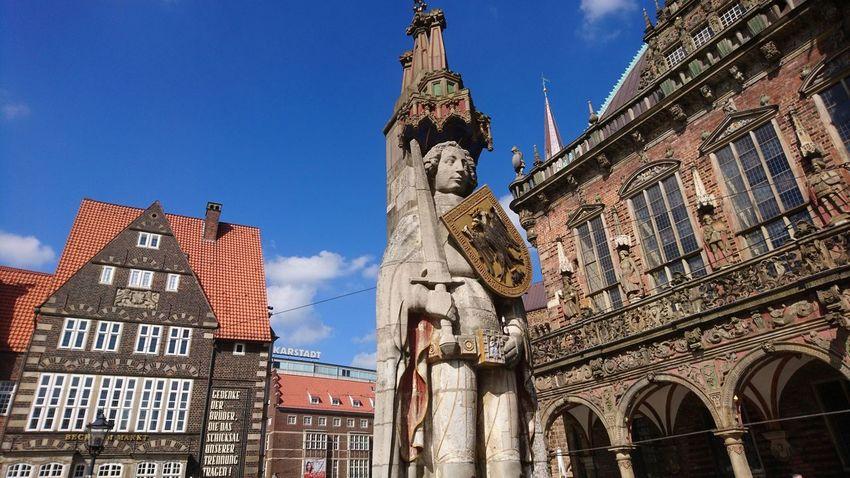 Der Roland. Bremen Germany HB Hansestadt Cityscape Architecture Monument Sightseeing Roland Statue Summer Blue Sky Old Town Altstadt Urban Beauty