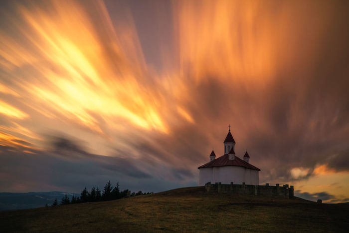 Long exposure at beauty of Carpathian landscape Architecture Beauty In Nature Building Exterior Built Structure Chapel Cloud - Sky Day Dramatic Sky Evening Nature Nature Outdoors Religion Scenics Sky Spirituality Sunset Travel Twilight