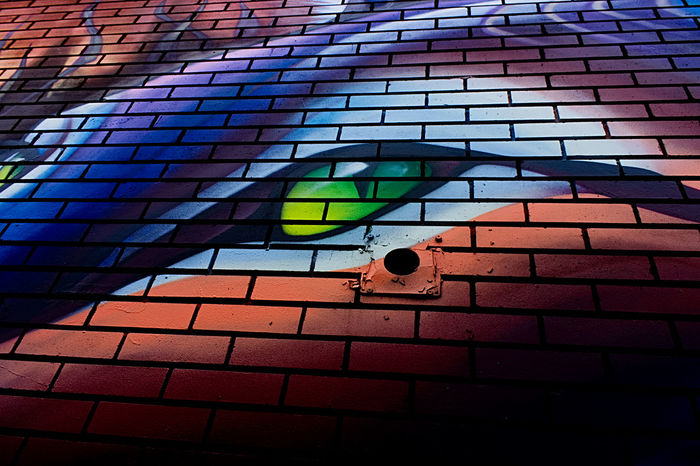 Street Art, Montreal Colors Psychedelic Wall Architecture Brick Building Exterior Built Structure Color Colorful Eye No People Outdoors Pattern Psychedelicart Street Art Streetart Visual Creativity The Creative - 2018 EyeEm Awards The Architect - 2018 EyeEm Awards The Traveler - 2018 EyeEm Awards