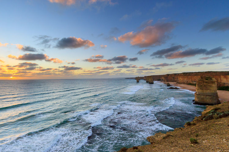 Extended exposure of the 12 Apostles at dusk 12 Apostles Awe Beach Beauty In Nature Cloud - Sky Day Dusk Eye4photography  EyeEm Best Shots Great Ocean Road Horizon Over Water Idyllic Landscape Nature No People Outdoors Rock - Object Sand Scenics Sea Sky Sunset Tranquil Scene Travel Water