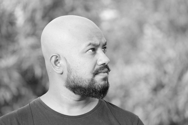 EyeEm Selects Only Men One Man Only Adults Only One Person Adult Shaved Head People Casual Clothing Mid Adult Mid Adult Men Headshot Men Beard Mature Adult Outdoors Real People Day Portrait Young Adult Human Body Part Blackandwhite Blackandwhite Photography Sommergefühle Eyeem India