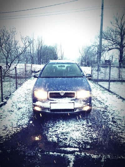 My car :-) Car Skoda Fabia Winter At Hukvaldy