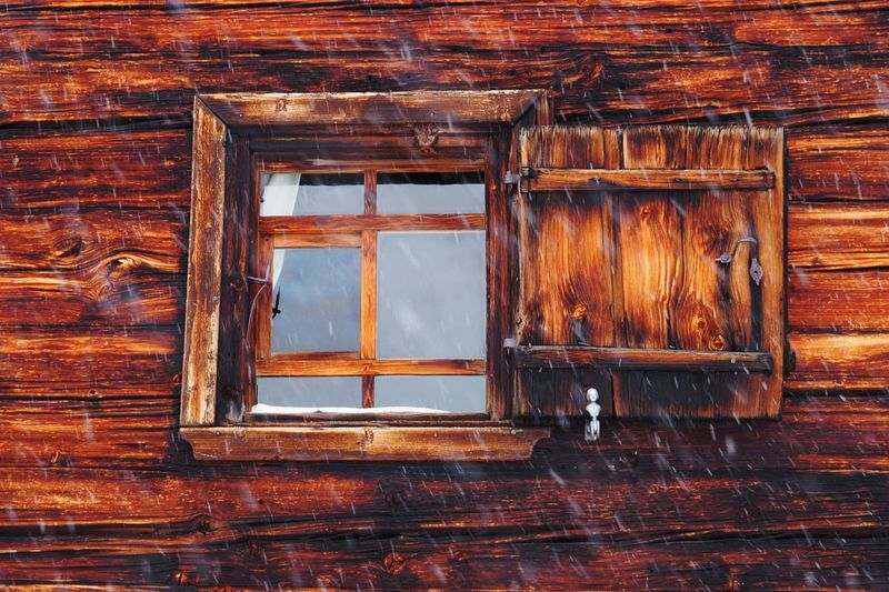 Wood - Material Window Built Structure Architecture No People Brown Old Day Building Exterior Building Wood House Outdoors Wall - Building Feature Wall Full Frame Weathered Log Cabin Window Frame History