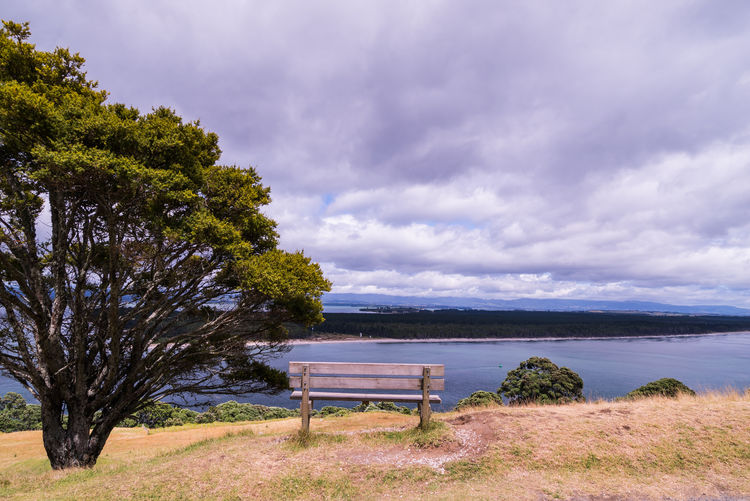 Beach Beauty In Nature Bench Cloud - Sky Day Horizon Over Water Landscape Nature No People Outdoors Scenics Sea Sky Tranquility Tree Vacations Water