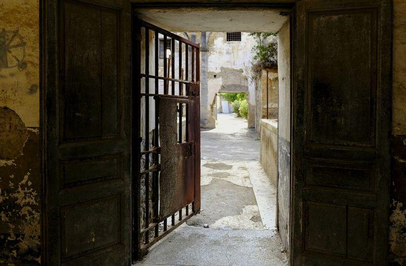 Palazzo D'Avalos Ex Carcere Corridor Window Door Doorway Architecture Built Structure Deterioration Prison Rusty Abandoned Ruined