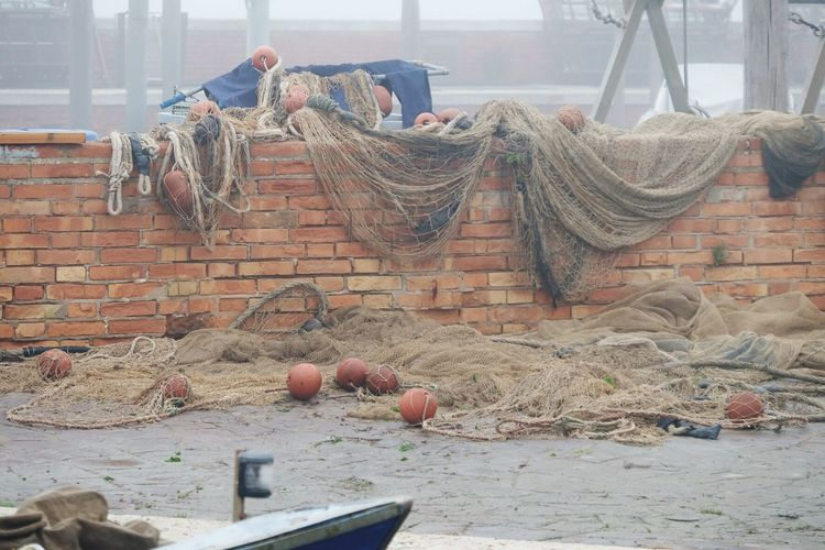 Day Built Structure Architecture Fishing Net No People Building Exterior Drying Outdoors Burano, Italy Foggy Day