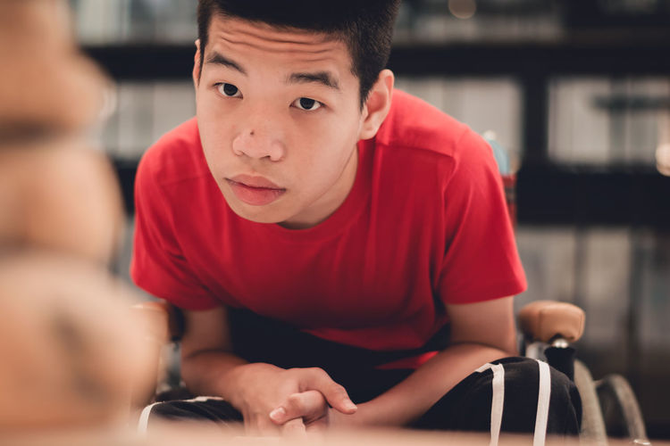 Portrait of boy indoors