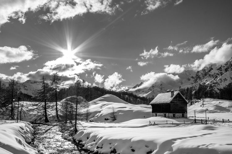 Winter Snow Cold Temperature Scenics - Nature Sky No People Snowcapped Mountain Beauty In Nature Blue Cloud - Sky Clouds And Sky Nature Winter Mountain Mountain Range Landscape Land EyeEm Best Shots EyeEmNewHere EyeEm Nature Lover EyeEm Selects EyeEm Gallery Blackandwhite Black And White Tranquility