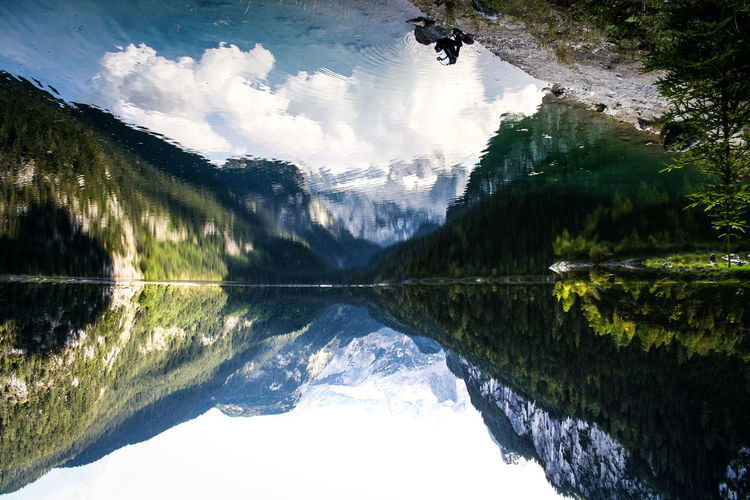 Upside down view of calm lake with mountains reflection