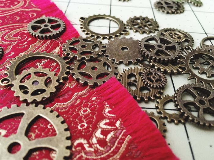 Costuming decisions... Red Close-up Textile Colors Projects Handmade Fabric Brocade Gears