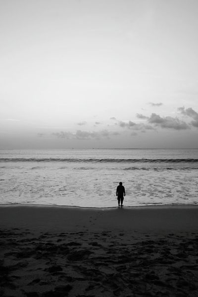 Alone Beach Blackandwhite Black And White Horizon Beach Sea Sand Water Horizon Over Water Silhouette Summer Nature People Cloud - Sky One Person Sky Outdoors Day Wave
