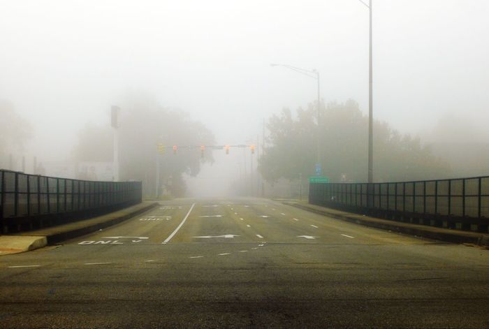 Fog Cold Temperature Winter City Wet Weather Road Sky