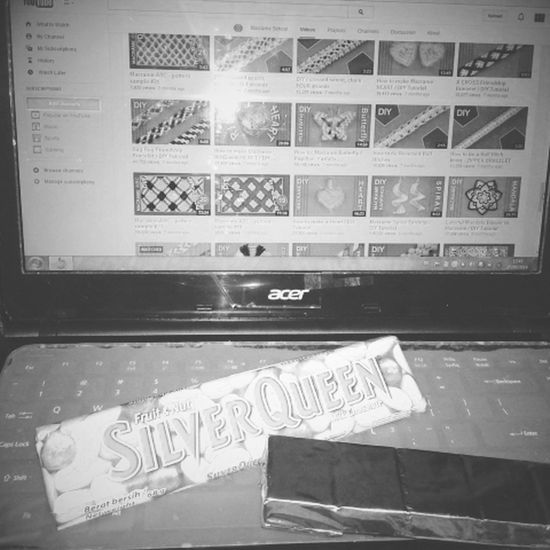 Ate chocolate while watched video how to make macrame Chill Out Macrame Chocolate Silverqueen