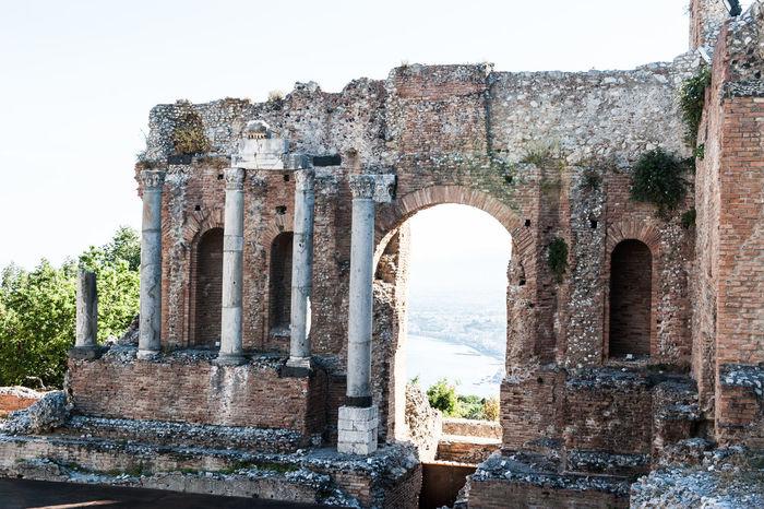 Walking in Taormina Ancient Architecture Ancient Civilization Bricks Columns And Pillars Etna, Mountain, Sicily, History Italy Roman Taormina And Etna Volcanoes