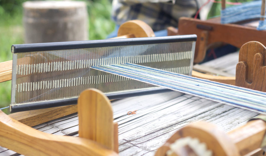 Close-up of loom in factory