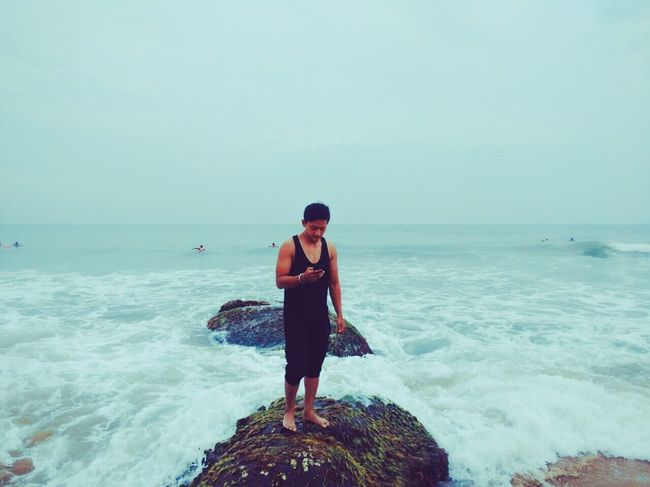 Beach and me Covelongpoint Faces Beach Life People People Of EyeEm India Scenics - Nature Beauty In Nature Beach Standing Rock