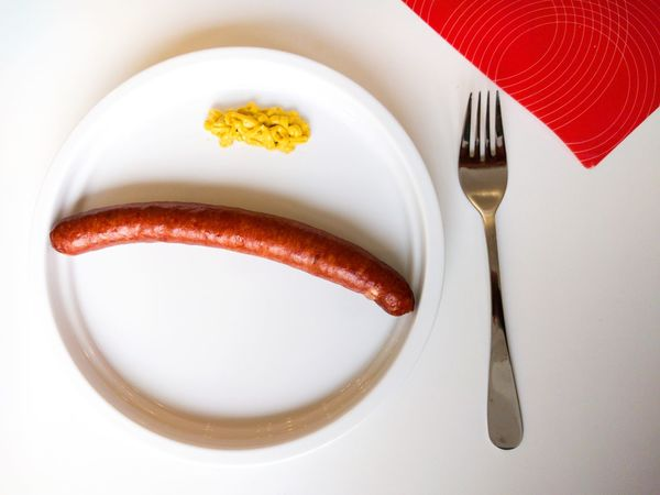 Yummy Lunch at the Krankenhaus . Food And Drink Still Life Close-up Indoors  Directly Above Food Healthy Eating Studio Shot Serving Size Ready-to-eat Overhead View Sausage Senf Mustard Minimalism On My Plate German Food Berliner Ansichten
