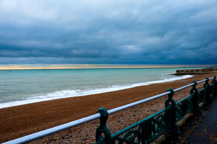 Brighton Brighton Beach Moody Sky Ocean View Beach Beauty In Nature Brighton Seafront Cloud - Sky Day Grey Sky Horizon Over Water Nature No People Outdoors Railing Sand Scenics Sea Seascape Sky Sussex By The Sea Tranquil Scene Tranquility Victorian Style Water