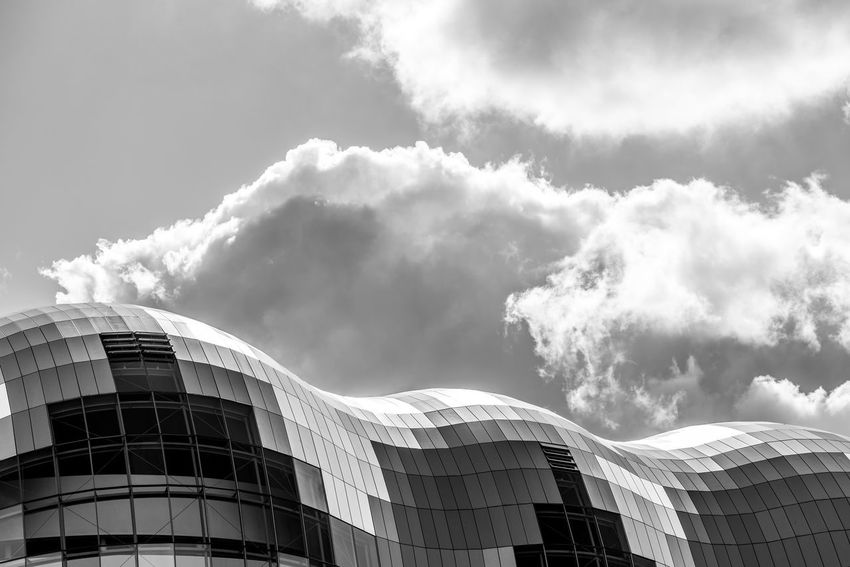 Thesage Gateshead Architecture Built Structure Building Exterior Modern Sky Day Low Angle View Cloud - Sky No People Outdoors Skyscraper City Travel Destinations North East England Quayside Blackandwhite Photography Black And White Nikon The Week On EyeEm Nikonphotography Glass Black & White Blacknwhite