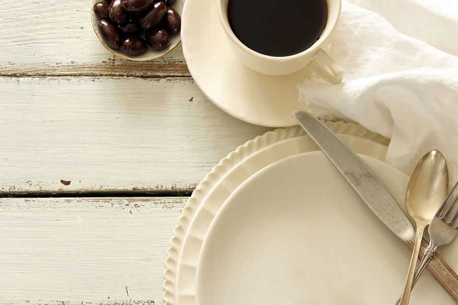 Menu Background Beautiful Charming Chocolate Almonds Coffee Coffee Cup Concept Cup And Saucer Cutlery Design Dishes Flat Lay Food And Drink Frame Linen Napkin Meal Time Mock Up Room For Copy Silver  Styled Sweets Table Setting Top View White