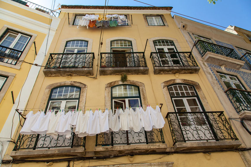 Architecture Balcony Building Exterior Built Structure Clothesline Day Drying House Laundry Lisbon Low Angle View No People Residential Building Window