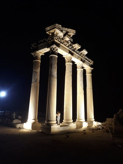EyeEm Gallery Eyeemphotography No Filter, No Edit, Just Photography No People No Filters Or Effects At Night Holiday Apollon Tapınağı Ancient Civilization Illuminated Old Ruin Ancient Monument King - Royal Person Sky Ancient History Archaeology Ancient Egyptian Culture Amphitheater Ancient Rome Stone Material Roma