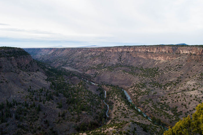 The Confluence of the Rio Grange and the Red Rivers outside of Taos, NM Arid Climate Beauty In Nature Cliff Day Geology Landscape Nature No People Outdoors Physical Geography Scenics Sky Tranquil Scene Tranquility Travel Destinations Tree