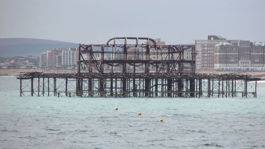 Brighton Brighton Beach Brighton Old Pier Burned Outdoors Pier Water Waterfront