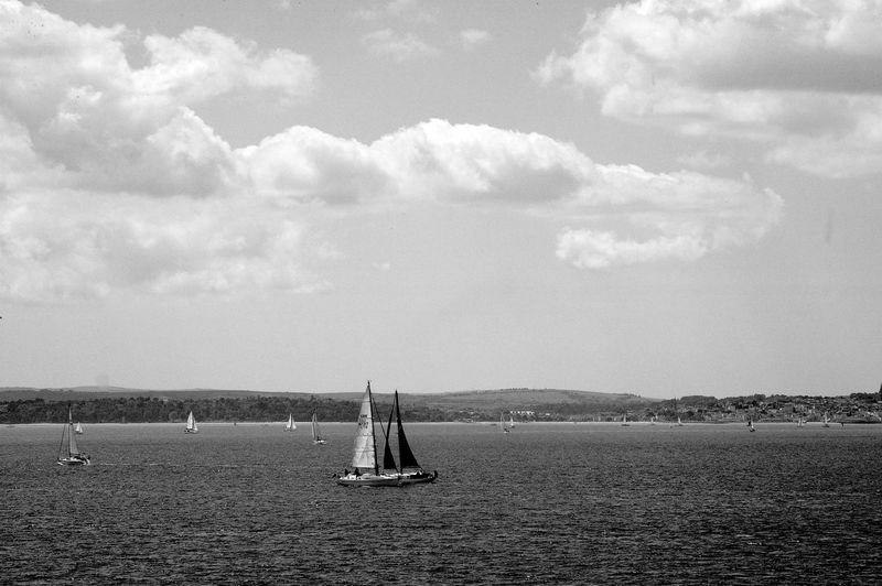 Solent Sailing Sky Cloud - Sky Nautical Vessel Sea Water Sailboat Transportation Day Waterfront Sailing Scenics - Nature Mode Of Transportation Beauty In Nature Tranquil Scene Tranquility Blackandwhite Black And White
