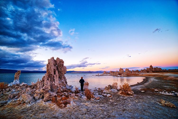 Colored Tufa EyeEm Selects Beauty In Nature Sky Nature Sunset Sea Tranquil Scene Water One Person Tranquility Cloud - Sky Scenics Outdoors Real People First Eyeem Photo