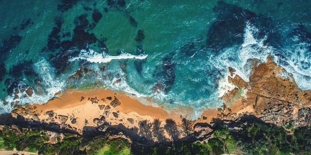 Blackwoods Beach Pano Available as Fine Art Print on www.kess.gallery #theshire #shirelife #sutherlandshire #cronulla #cronullabeach #beach #seascape #beachscape #nulla #drone #drones #droneoftheday #droneporn #droneglobe #fromwhereidrone #dronesdaily #dronegear #dronesetc #dronelife #dronesaregood #aerialphotography #dronestagram #dronesarefun #dronepics #dronephoto #dji #djiphantom #phantom4pro #iamdji #focusaustralia Water Tree Backgrounds Full Frame High Angle View Close-up Sky
