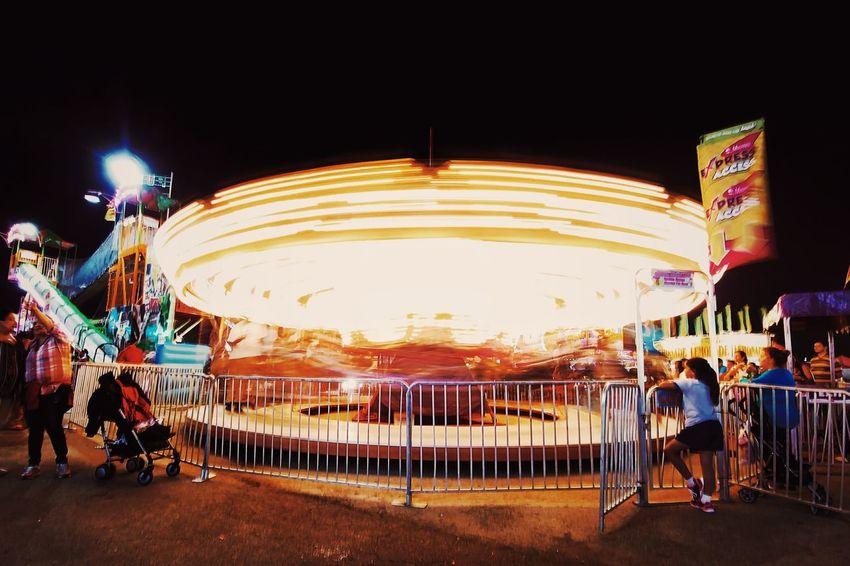 Illuminated People Speed County County Fair USA Anytown USA Miami Fair Fairground Ride Long Exposure Night Nightphotography Night Lights Place Of Heart
