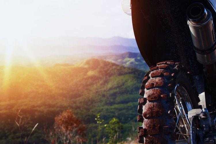 View of man on mountain range
