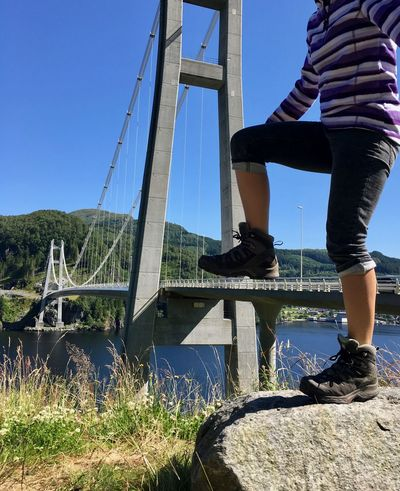 Giant Blue Bridge Giants Low Section One Person Outdoors Real People Shoe Sky Standing Step On
