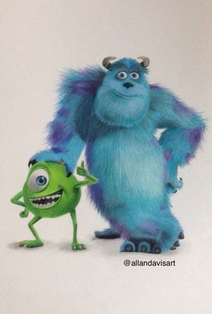 My Drawing Of Sulley And Mike From Monsters Inc Monstersinc Drawing Art First Eyeem Photo