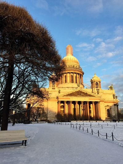 Sun Architecture Isaac's Cathedral Sky Snow History Outdoors Bare Tree Travel Destinations Day Nature No People