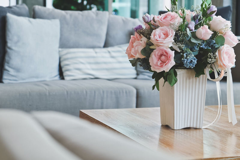 Beautiful Pink rose in vase on table in living room. Decor Interior Decorating Living Pink Rose Pink Rose Flower Bouquet Close-up Day Decoration Decorative Flower Flower Head Freshness Furniture Home Interior Indoors  Interior Interior Design Living Room Nature No People Rose - Flower Table Vase Wood - Material