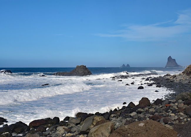 On the beach of Taganana in the northeast of the island of Tenerife -Am Strand von Taganana im Nordosten der Insel Teneriffa, Canary Islands Beach Beauty In Nature Blue Cliff Day Groyne Horizon Over Water Nature No People Outdoors Rock - Object Rock Formation Scenics Sea Sky Taganana Tenerife Tenerife Island Teneriffa Tranquility Water Wave