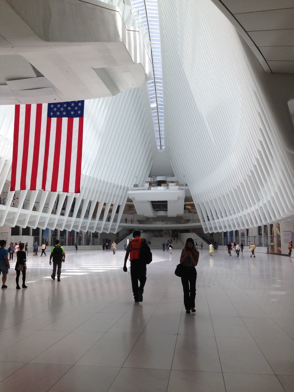 flag, patriotism, real people, large group of people, architecture, indoors, built structure, men, day, architectural column, women, people