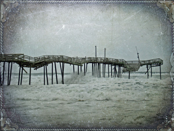 We used to fish near this pier in Frisco on the Outer Banks. It was abandoned and falling into ruin, and a couple storms pretty much wiped it out. This is enhanced with a texture layer from Shadowhouse Creations. Abandoned Blue Derelict Destruction Enhnce Fishing Pier Gray Layers And Textures Long Manipulated Obsolete Ocean Old Pier Railing Ruined Scenery Sea Seascape Storm Structure SUPPORT Surfing Water Waves