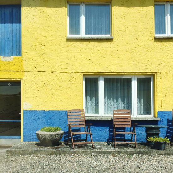 Architecture Building Exterior Built Structure Building Window No People Day Yellow Seat Door House Closed Absence Entrance Chair Nature Residential District Outdoors Empty City