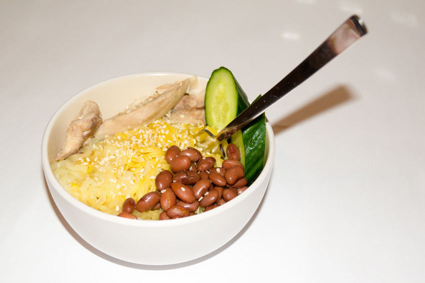 Fork Bean Bowl Chicken Meat Close-up Cucumber Slices Day Food Food And Drink Freshness Indoors  No People Pasta Ready-to-eat Studio Shot White Background